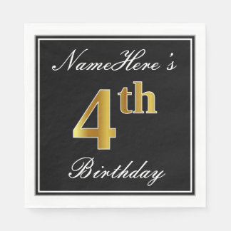 Elegant, Faux Gold 4th Birthday + Custom Name Paper Napkin