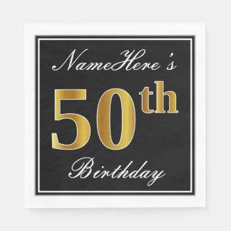 Elegant, Faux Gold 50th Birthday + Custom Name Paper Napkins