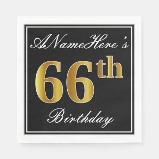 Elegant, Faux Gold 66th Birthday + Custom Name Paper Napkin
