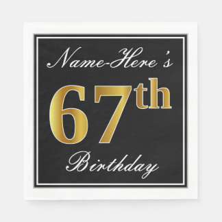 Elegant, Faux Gold 67th Birthday + Custom Name Disposable Napkins