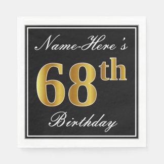 Elegant, Faux Gold 68th Birthday + Custom Name Paper Napkins