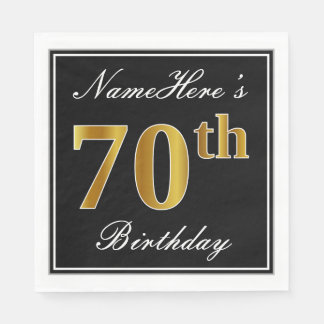 Elegant, Faux Gold 70th Birthday + Custom Name Disposable Napkins