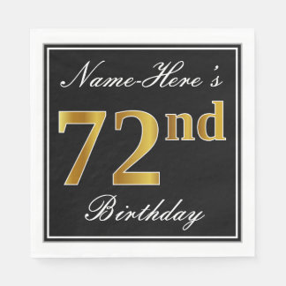 Elegant, Faux Gold 72nd Birthday + Custom Name Disposable Napkin