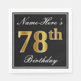 Elegant, Faux Gold 78th Birthday + Custom Name Paper Napkin
