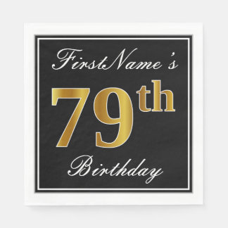 Elegant, Faux Gold 79th Birthday + Custom Name Paper Napkin