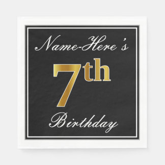 Elegant, Faux Gold 7th Birthday + Custom Name Disposable Napkin