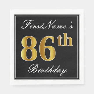 Elegant, Faux Gold 86th Birthday + Custom Name Disposable Napkin