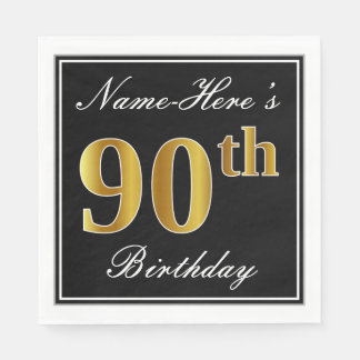 Elegant, Faux Gold 90th Birthday + Custom Name Paper Napkin