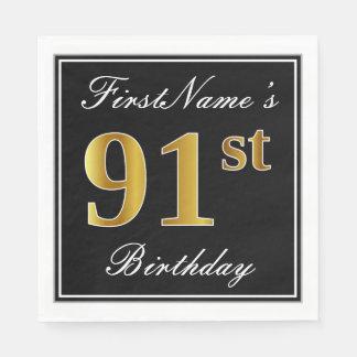 Elegant, Faux Gold 91st Birthday + Custom Name Paper Napkin