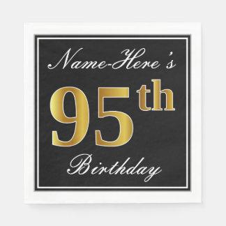 Elegant, Faux Gold 95th Birthday + Custom Name Disposable Napkins
