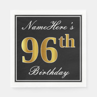 Elegant, Faux Gold 96th Birthday + Custom Name Disposable Napkins