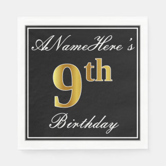 Elegant, Faux Gold 9th Birthday + Custom Name Disposable Napkin