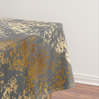 elegant faux gold and grey brushstrokes tablecloth