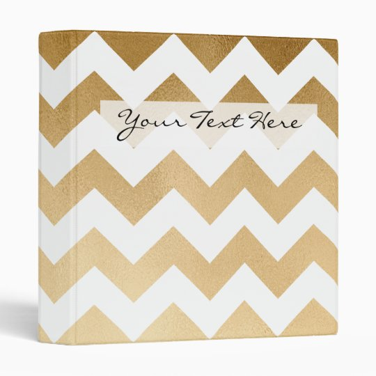 elegant faux gold and white chevron pattern 3 ring binders