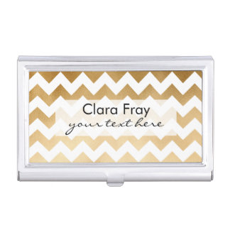 elegant faux gold and white chevron pattern business card holder