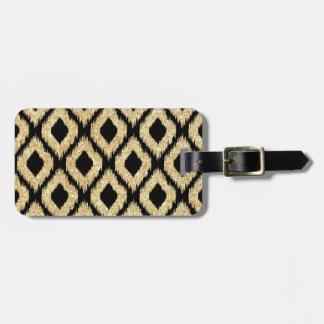 Elegant Faux Gold Black Glitter Tribal Pattern Luggage Tag