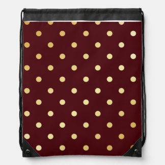 elegant faux gold brown polka dots drawstring bag