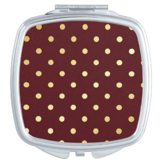 elegant faux  gold brown polka dots mirrors for makeup