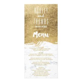 Elegant faux gold brushstroke marble wedding menu rack cards