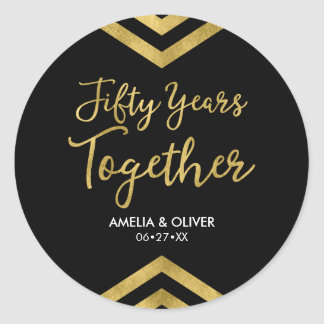 Elegant Faux Gold Chevron 50th Wedding Anniversary Round Sticker