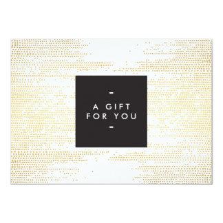 "Elegant Faux Gold Confetti Dots Gift Certificate 4.5"" X 6.25"" Invitation Card"