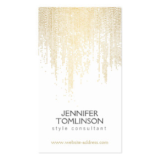 Elegant Faux Gold Confetti Dots on White Business Card