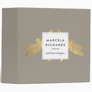 Elegant Faux Gold Dragonfly Duo on Taupe Binder