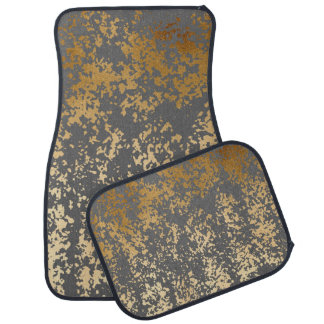 elegant faux gold foil and grey brushstrokes auto mat