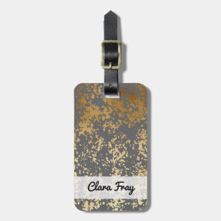 elegant faux gold foil and grey brushstrokes bag tag