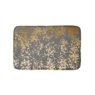 elegant faux gold foil and grey brushstrokes bath mat