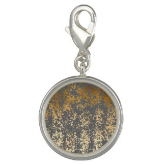 elegant faux gold foil and grey brushstrokes charms