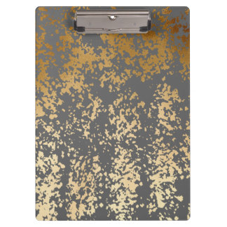 elegant faux gold foil and grey brushstrokes clipboards