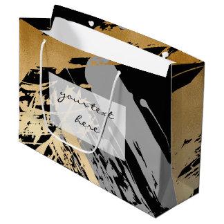 elegant faux gold foil and grey brushstrokes large gift bag
