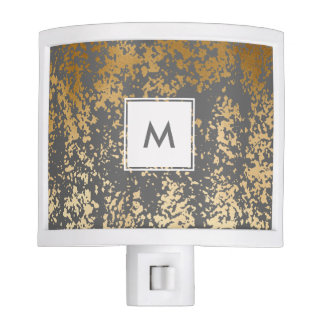 elegant faux gold foil and grey brushstrokes night lite