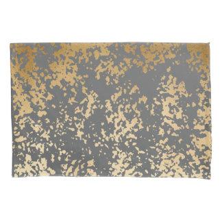 elegant faux gold foil and grey brushstrokes pillowcase