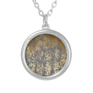 elegant faux gold foil and grey brushstrokes silver plated necklace