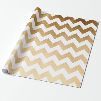 elegant faux gold foil and white chevron pattern
