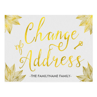 Elegant Faux Gold Foil Change of Address Postcards
