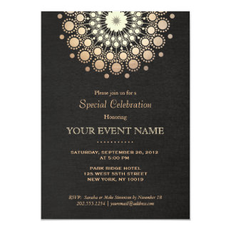 "Elegant Faux Gold Foil Circle Motif Black Formal 5"" X 7"" Invitation Card"
