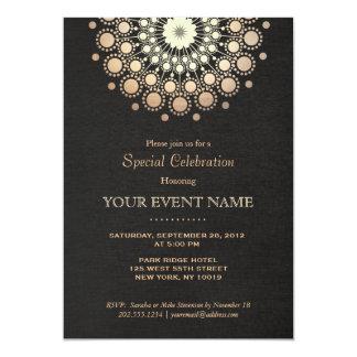 "Elegant Faux Gold Foil Circle Motif Black Formal 5"" X 7"" Invitation Card"