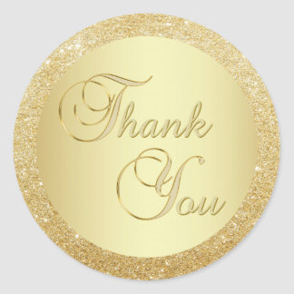 Elegant Faux Gold Foil Glitter Thank You Envelope Classic Round Sticker