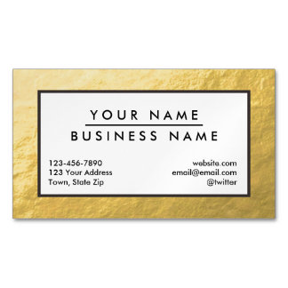Elegant Faux Gold Foil Magnetic Business Card