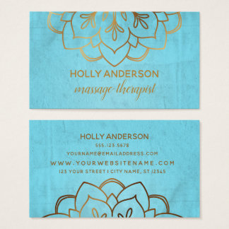 Elegant Faux Gold Foil Mandala w/ Texture & Aqua Business Card