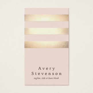Elegant Faux Gold Foil Striped Modern Light Pink Business Card