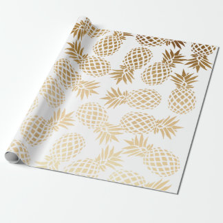 elegant faux gold foil tropical pineapple pattern