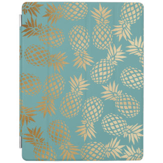 elegant faux gold foil tropical pineapple pattern iPad cover