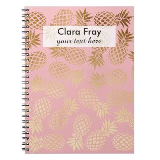 elegant faux gold foil tropical pineapple pattern note books