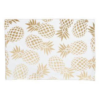elegant faux gold foil tropical pineapple pattern pillowcase
