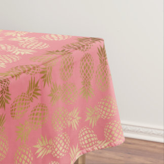 elegant faux gold foil tropical pineapple pattern tablecloth