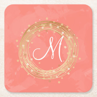 elegant faux gold foil wreath pink brushstrokes square paper coaster
